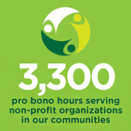 3,300 Pro bono hours serving non-profit organizations in our communities